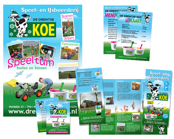affiches, flyers, folders en consumptiekaarten